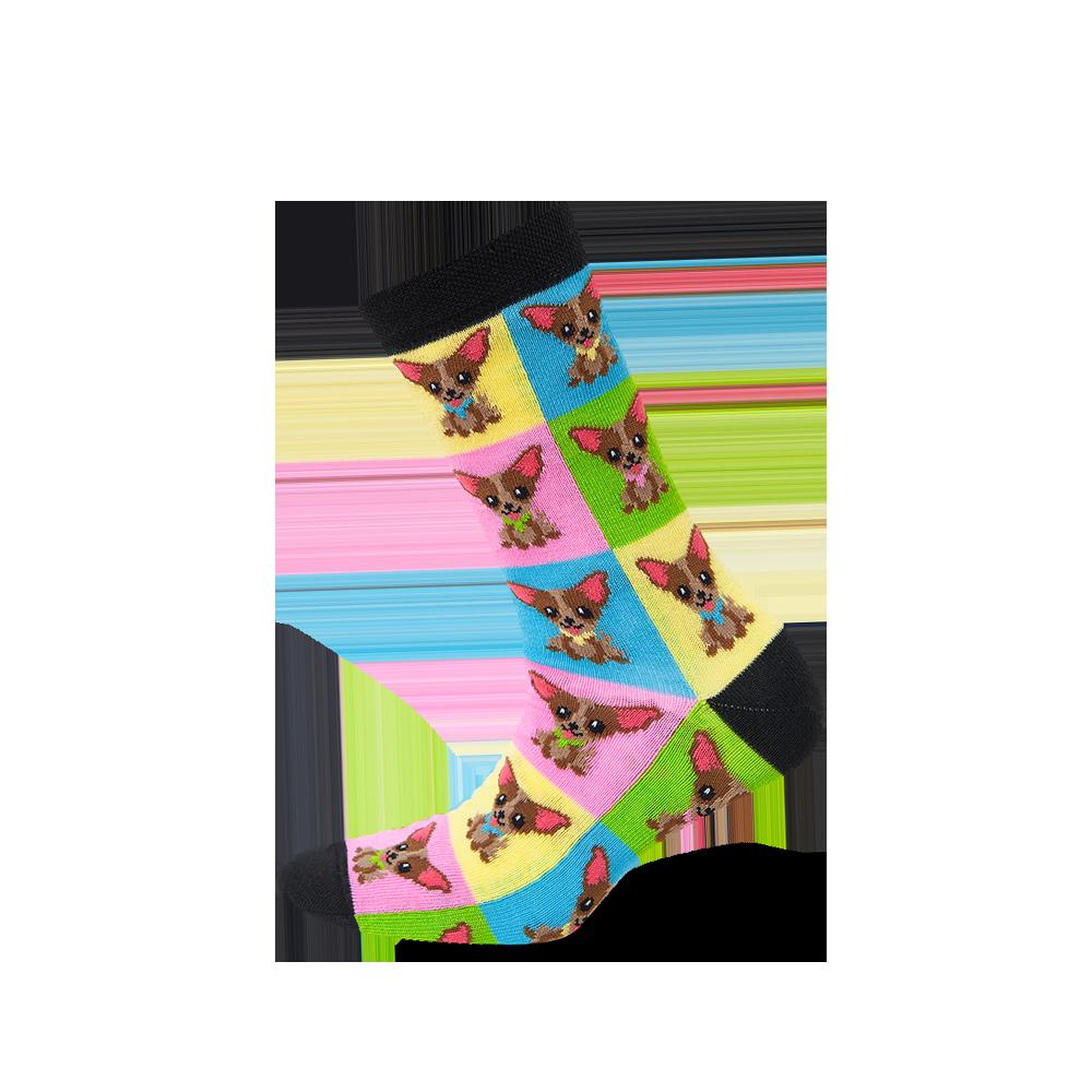 """Moterų kojinės """"Šuniukai kvadratuose"""" 1"""