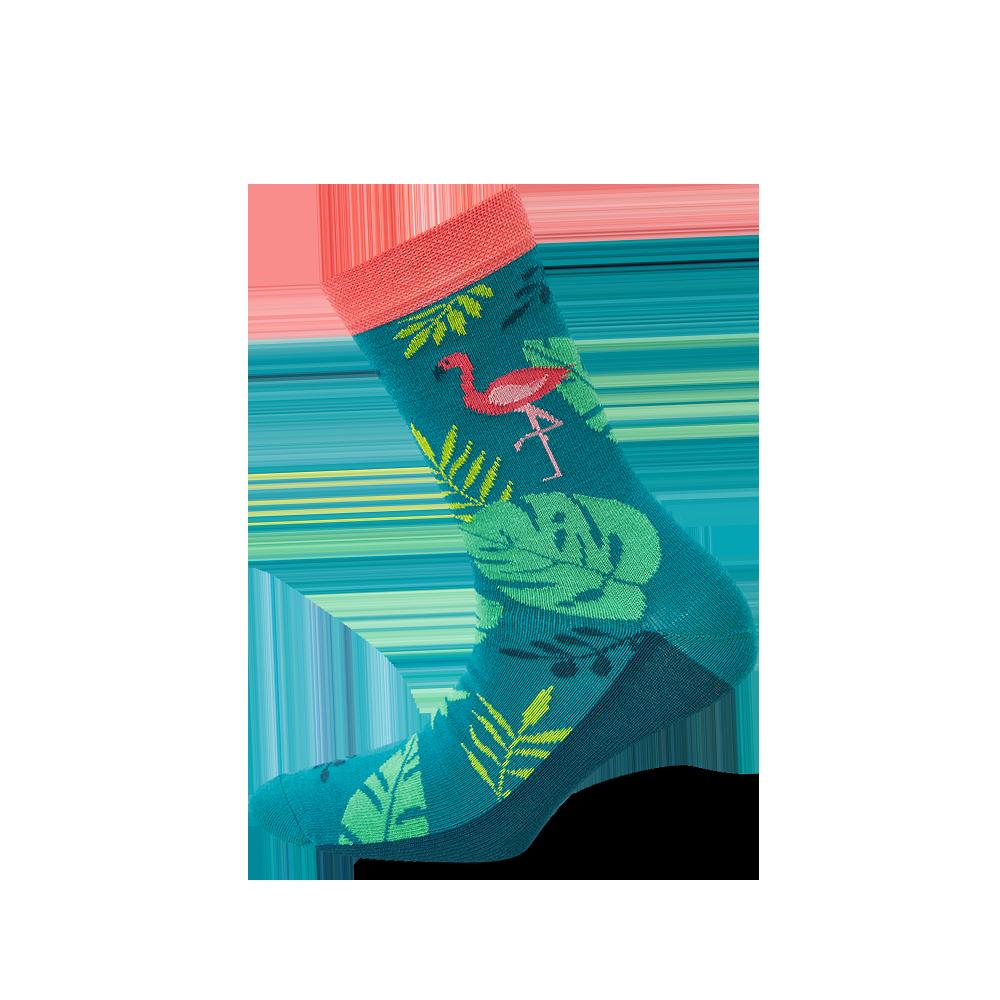 """Moterų kojinės """"Flamingas tropikuose"""" 1"""