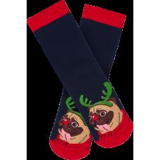 """Moterų kojinės """"Kalėdinis mopsas"""""""